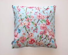 EVY HOME DECOR Blue/Pink Floral Lumbar Handmade Throw Pillow Cases Decorative Cushion Covers for Home Sofa Bed Decor 16 x 16 Inch Throw Pillow Cases, Throw Pillows, Sofa Bed Decor, Décor Ideas, Handmade Home Decor, Cushion Covers, Cushions, Floral, Pink