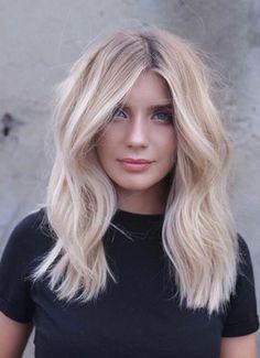 Blonde hairstyle design, platinum blonde hair, long hair style, long curl hair style #blonde #hairstyle #white #longhair #balayagehairblonde