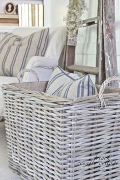 FRENCH COUNTRY COTTAGE: Chunky Baskets & French Stripe Pillows