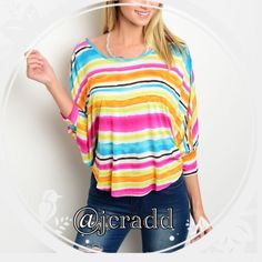 Summer Rainbow striped top Coming soon! Made in the USA! 100% rayon. Super cute! Sizes small medium and large. Acquitted Apparel Tops Blouses