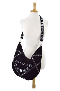 Gorgeous and amazing design, Moon design hobo bag by Restyle. It is made of high quality solid, black velvet and faux leather with studs decorations. In the center of the bag, there is a moon phases e