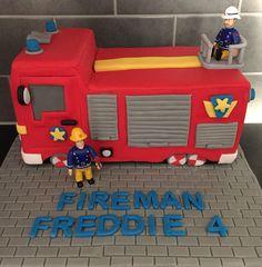 Fireman Sam, Jupiter, fire engine cake Fireman Sam Birthday Cake, Thomas Birthday Cakes, Fireman Sam Cake, Fireman Party, First Birthday Cakes, 3rd Birthday Parties, Boy Birthday, Fire Engine Cake, Fire Fighter Cake