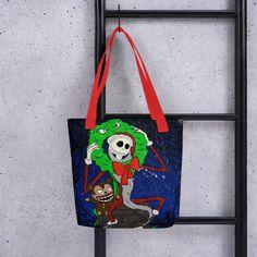Jack Skellington Christmas All-Over Print Tote Jack Skellington, Tim Burton, Nightmare Before Christmas, Reusable Tote Bags, Fabric, Cotton, Handle, Denim, Natural