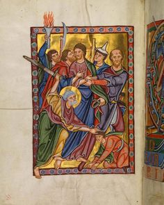 Judas' Kiss - Bamberger Psalter (1220 - 1230 AD) - Digital collection of Bamberg State Library
