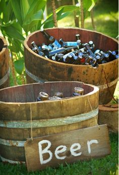 Dream wedding drinks - Google Search cute way to serve beer at outdoor weddings