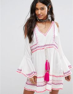 Island Stories Open Shoulder Beach Dress With Neon Contast Stitching W