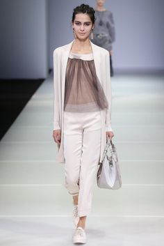 Giorgio Armani Spring 2015 RTW - Look 18 - tulle top over camisole, fine knit long sweater