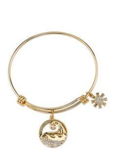 Belk Silverworks  Gold-Tone Let the Sea Set You Free Charm Bracelet