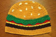 Pattern for cheezburger hat!  So cute, but I'm sure some wise guy would get around to acting like a hungry zombie.