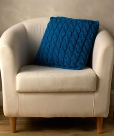 Statement Cable Pillow Free Knitting Pattern from Red Heart Yarns