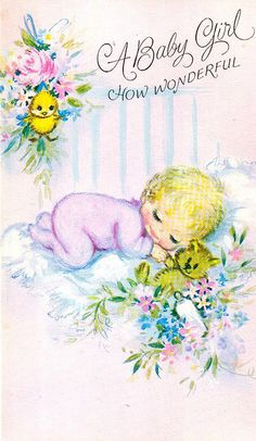 1980s Greeting Card - Baby Girl by The Woman in the Woods, via Flickr