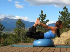 Yoga Bow Pose on the Bosu Balance Trainer. It is much harder to balance on the Bosu than on the floor alone.  Get ready to engage your core!