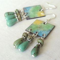 Torch Fired Enamel Earrings with Turquoise Briolette Drops, Chandelier Style. $42.00, via Etsy.