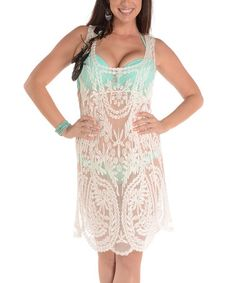 Love this Off-White Sheer Crochet Cover-Up on #zulily! #zulilyfinds