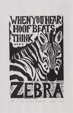 Z is for Zebra limited edition linocut print by armstrongartisans