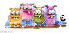 Original-watercolor-painting-folk-art-whimsical-colorful-four-monsters-a-crow #monsters