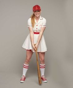 Personalized Retro Baseball Player Costume For Women - exclusively ours - Girls of summer, get ready for a winning season! Your uniform's a vintage-style dress with notched collar, red pinstripes, sequin trim, belt and full skirt.