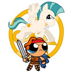 Hercules  Pegasus meet the PowerPuff Girls>>> It's a combination of Laura Fausts animation, as Hercules! MLP pegasus, and Power Puff Girls type design Hercules. Love!! -HannahL