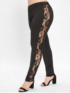 3261e534a4f4cf Plus Size Side Lace Panel Leggings - BLACK - 2X Cheap Leggings, Plus Size  Leggings