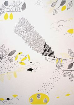 flying yellow owl by Hannah Waldron
