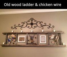 Old Wood Ladder & Chicken Wire Frame