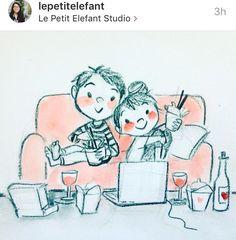 Drawing date night Cool Art Drawings, Pencil Art Drawings, Cartoon Drawings, Art Sketches, Cute Couple Sketches, Cute Couple Art, Cute Illustration, Character Illustration, Love Cartoon Couple