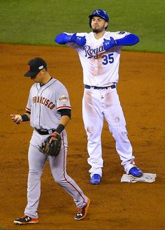SI's Best Photos of Game 6 of the 2014 World Series - Royals first baseman Eric Hosmer celebrates after hitting a double.