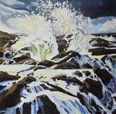 "©Kristen O'Neill, ""Waves Crashing"" 40"" x 40"", acrylic on canvas.  $2750. #painting"