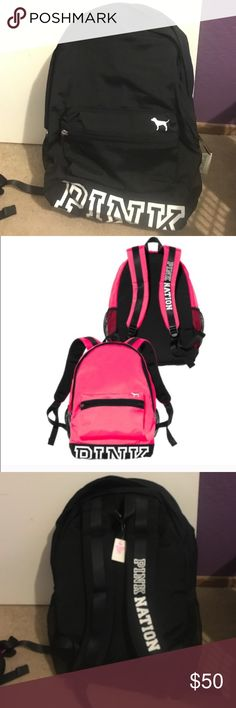 Black Victoria secret pink backpack This backpack is perfect for school holds binders and notebooks perfectly. Also available is a pink backpack as seen in pictures. Available on Ⓜ️ercari for free shipping. Not available for bogo PINK Victoria's Secret Bags Backpacks