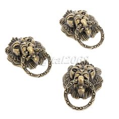 Hot New 6pcs Antique Bronze Lion Head Cabinet Handles Drawer Pulls Closet Drawer Door Kitchen Cabinet Vintage Decorative Knob