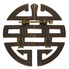 Chinese Brass Hardware ''Happiness'' Character Cabinet Face Plate 9-5/8'' : All