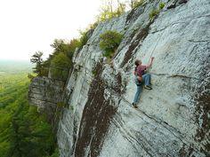 Climber on the lichen pitch of Arrow (5.8), Gunks, NY (CascadeClimbers.com)  I will climb you.
