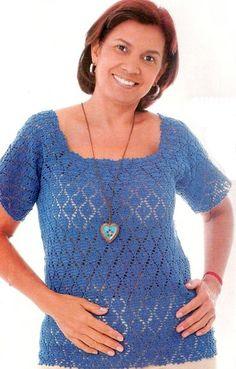 Delicadezas en crochet Gabriela: Blusas talles grandes
