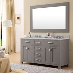 """Water Creation MADISON-60 Madison 60"""" Solid White Double Sink Bathroom Vanity"""