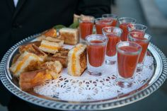 Love this idea- mini grilled cheese tomato soup shooters!  // Photographer: Sarah Tew Photography, Catering: Charles Sally Charles // see more: http://theeverylastdetail.com/2013/09/04/modern-romantic-lavender-blue-wedding/