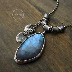 Necklace is made of oxidized sterling silver 925 and natural AAA High Quality labradorite, Labradorite 0,67 x 1,06 inches (17 x 27 mm)  Dimensions: