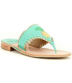 Jack Rogers Pineapple Leather Embroidered Slip-On Thong Sandals