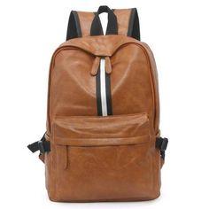 men vintage backpack leather women solid black College school bags male back  pack teens bagpack Mochila Casual back bag bc27a52cdb990