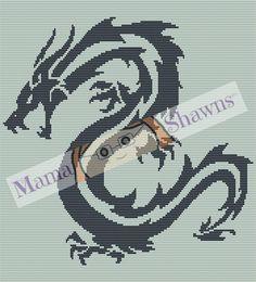Tribal Dragon - Crochet Pattern, Written Pattern, Graphhan by MamaShawns on Etsy