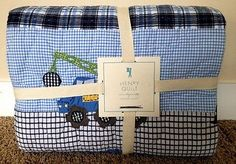 POTTERY BARN KIDS HENRY TWIN QUILT NEW TRUCKS CRANES BUSY BUILDER CONSTRUCTION