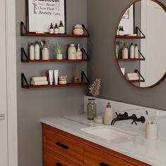 """PONZA 24"""" Bathroom Shelf for Bathroom Decor, Wall Bathroom Organizer – Set of 3 – Walnut"""