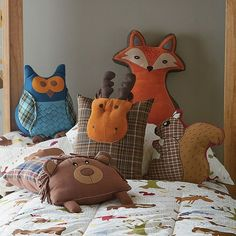 contemporary kids decor by The Company Store. Woodland animal pillows.