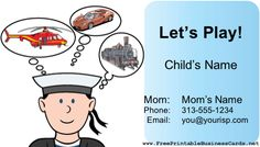 A play date card for parents to exchange. Features a boy in a sailor hat thinking; of a helicopter, race car and train. Free to download and print
