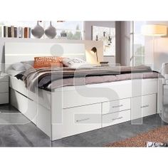 Bed SCARLETT 160x200 cm wit met zes lades met hoofdeinde met led bij Mobistoxx Bench, Storage, Furniture, Home Decor, Purse Storage, Store, Interior Design, Home Interior Design, Desk