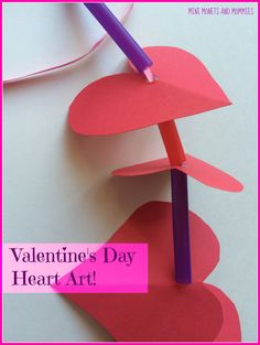Children can create holiday heart art for Valentine's Day. Valentines Day Words, Valentines Day Activities, Art Activities For Kids, Valentines For Kids, Valentine Day Crafts, Valentine Heart, Holiday Crafts For Kids, Diy Crafts For Kids, Heart Garland