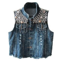 Dark Blue Washed Denim Vest with Paillette Embellishment...Featuring a classic point distressed collar, sleeveless styling, paillette embelishment detail, ripped detailing, flap pockets to the chest, buttoned placket to the front, and cropped length. In punk style.