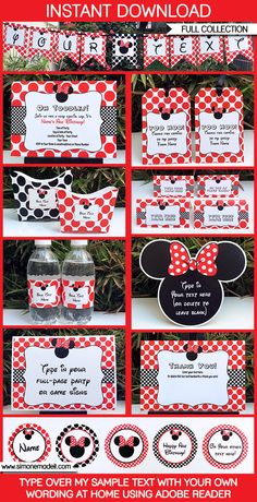 Minnie Mouse Birthday Party Printables, Invitations & Decorations – Red within Red Minnie Mouse Party Decorations - Best Home & Party Decoration Ideas Minnie Mouse Party Decorations, Mouse Parties, Disney Parties, 2nd Birthday Parties, Birthday Party Invitations, Birthday Ideas, Frozen Invitations, Minnie Mouse Roja, Mickey Mouse Birthday
