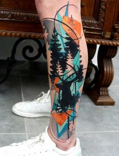 Colorful deer calf tattoo - 50+ Amazing Calf Tattoos