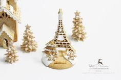 White Christmas Eiffel Tower Gingerbread Centerpiece - Dollhouse Miniature 1/12 scale by PetitDlicious on Etsy https://www.etsy.com/listing/213468876/white-christmas-eiffel-tower-gingerbread