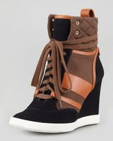 If it's wrong to love a sneaker wedge....you know the rest....  Chloé-chloe mixedmedia wedge hightop sneaker blackbrown